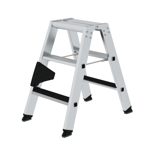 Double-sided step ladder with double-sided access with clip-step 2x3 steps