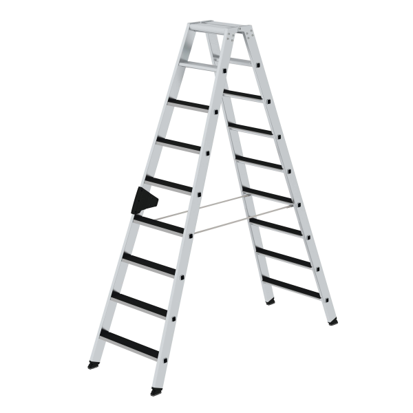 Double-sided step ladder with double-sided access with clip-step 2x9 steps