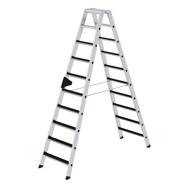 Double-sided step ladder with double-sided access with clip-step 2x10 steps