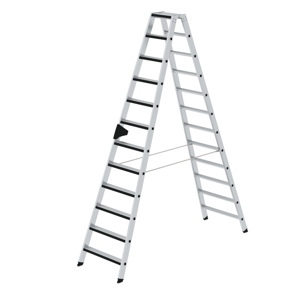 Double-sided step ladder double-sided access and relax step® 2x12 steps
