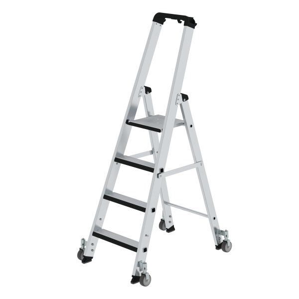 Double-sided step ladder with single-sided access with relax step® and castors 4 steps
