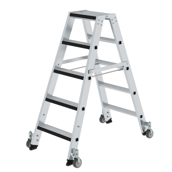 Double-sided step ladder with double-sided access and relax step® and castors 2x5 steps