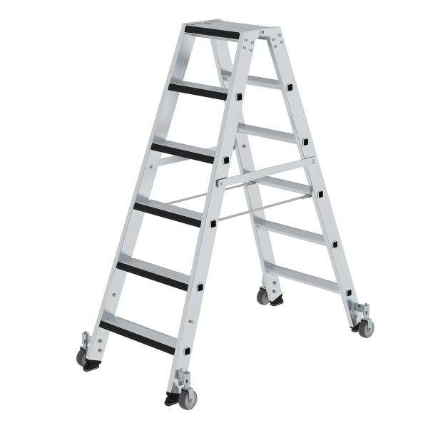 Double-sided step ladder with double-sided access and relax step® and castors 2x6 steps