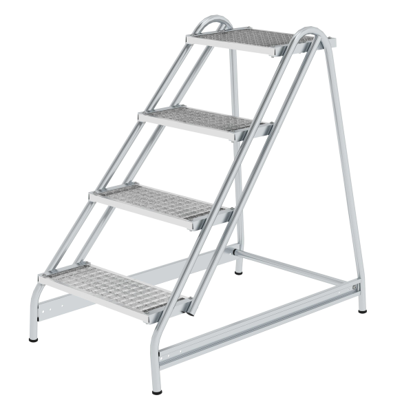 Work platform with single-sided access, steel grating 4 steps