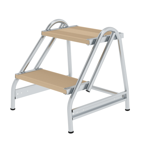 Work platform with single-sided access, wood 2 steps
