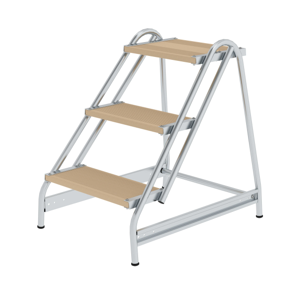 Work platform with single-sided access, wood 3 steps