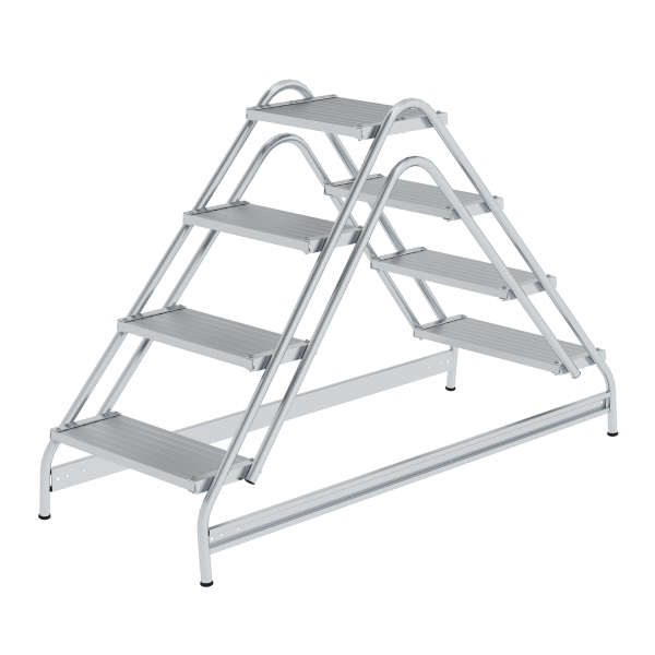 Work platform, with double-sided access, grooved aluminium 2x4 steps