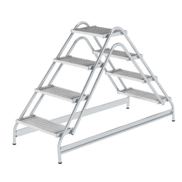 Work platform, with double-sided access, steel grating 2x4 steps