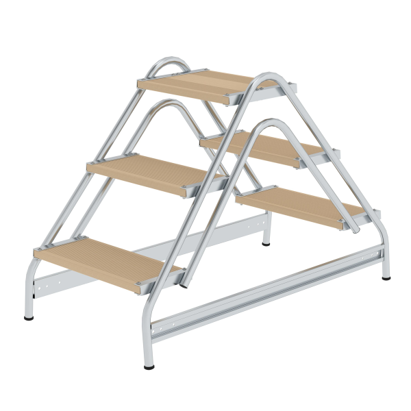 Work platform, with double-sided access, wood 2x3 steps