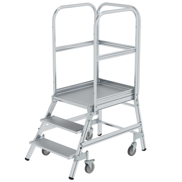 Platform stairs, with single-sided access, with spring-loaded castors, grooved aluminium 3 steps