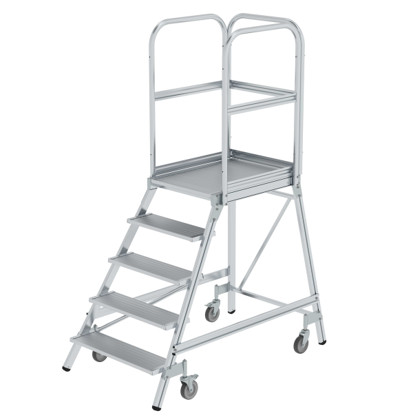 Platform stairs, with single-sided access, with spring-loaded castors, grooved aluminium 5 steps