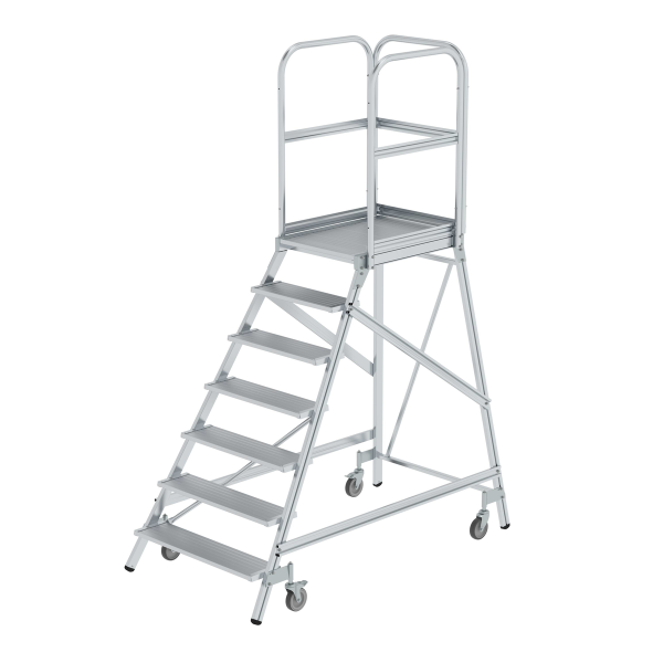Platform stairs, with single-sided access, with spring-loaded castors, grooved aluminium 7 steps