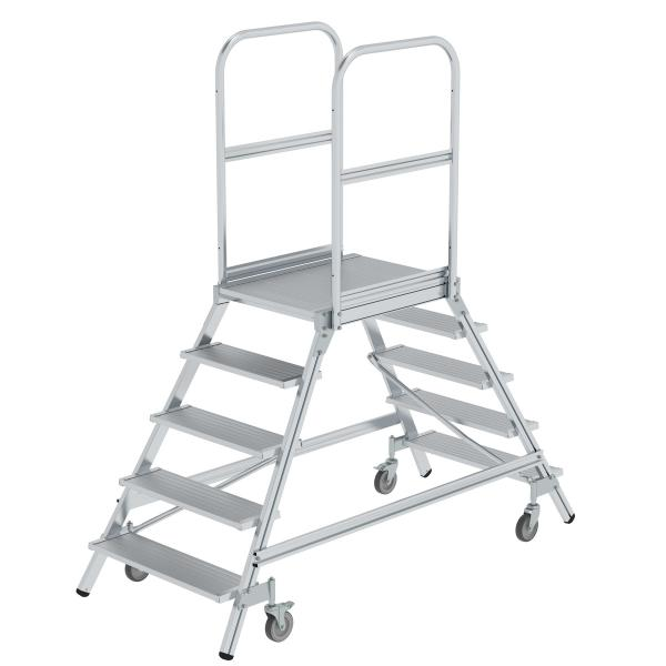 Platform stairs, with double-sided access, with spring-loaded castors, grooved aluminium 5 steps