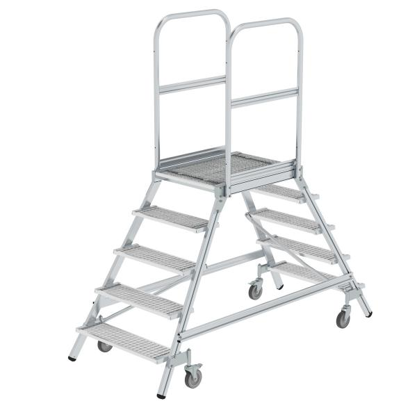 Platform stairs, with double-sided access, with spring-loaded castors, steel grating 5 steps