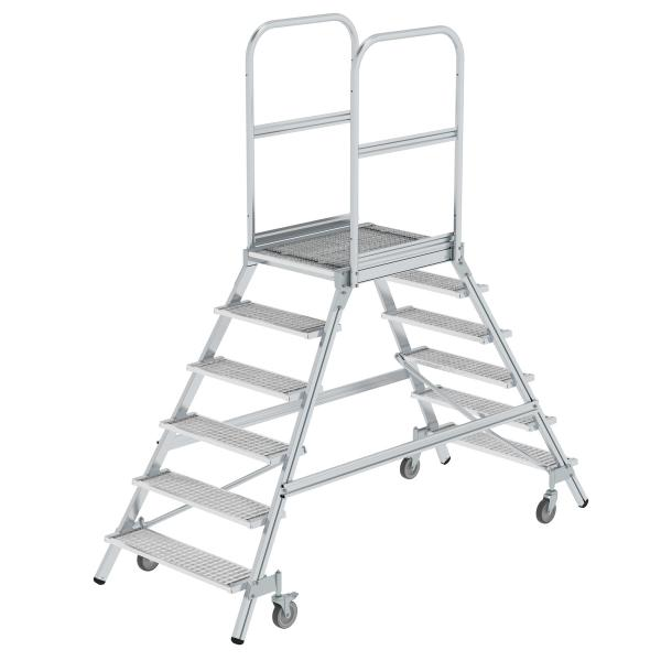 Platform stairs, with double-sided access, with spring-loaded castors, steel grating 6 steps