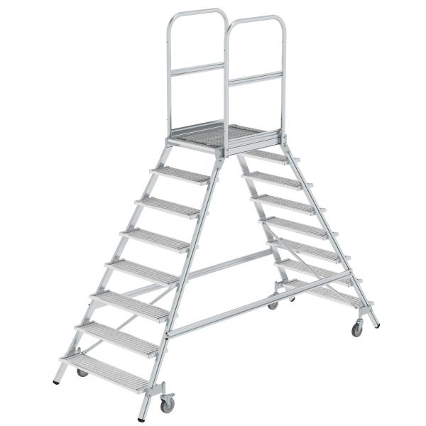 Platform stairs, with double-sided access, with spring-loaded castors, steel grating 8 steps