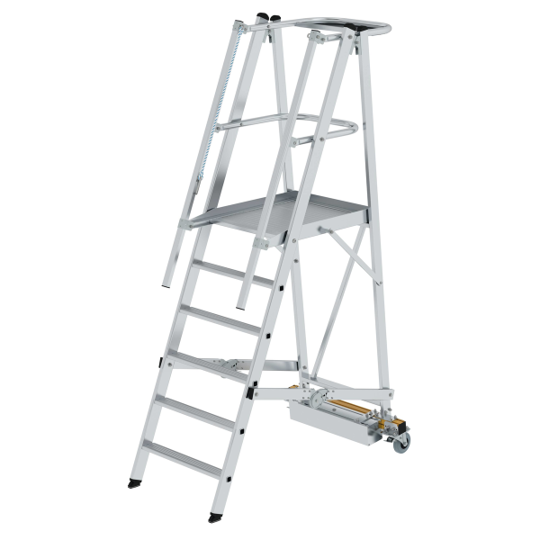 Folding platform ladder with narrow undercarriage 6 steps