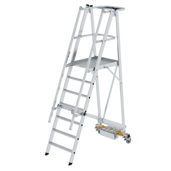 Folding platform ladder with narrow undercarriage 7 steps