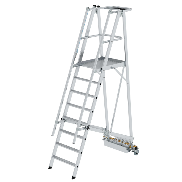 Folding platform ladder with narrow undercarriage 8 steps