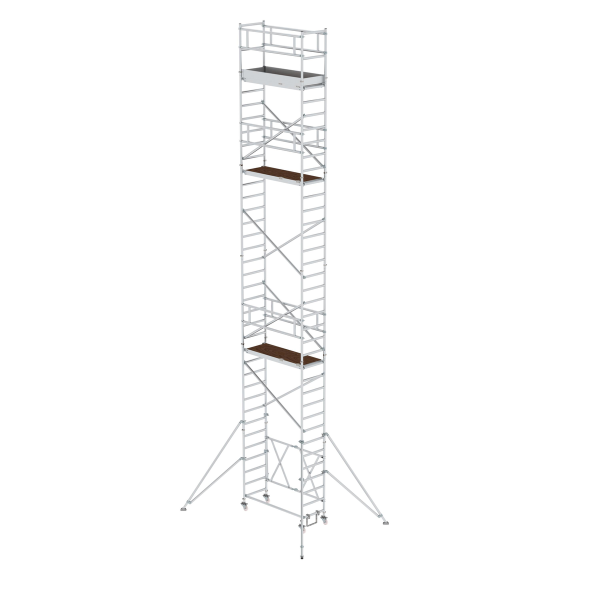 Folding scaffolding 0.75 x 1.80 m with outrigger Platform height 9.80 m