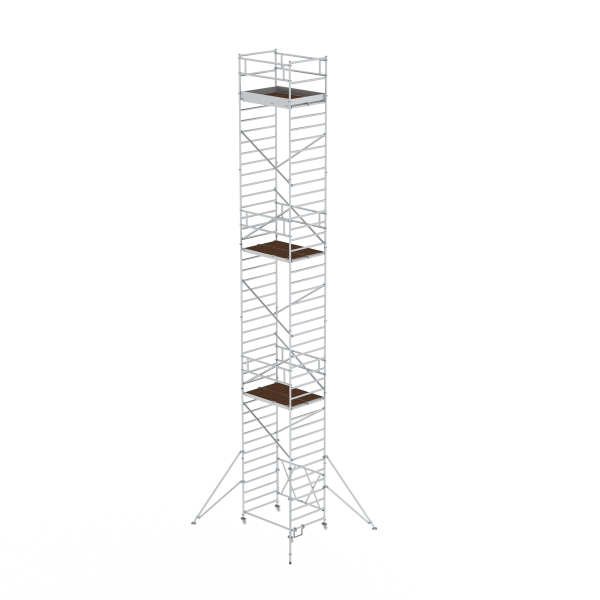 Folding scaffolding 1.35 x 1.80 m with outrigger Platform height 11.80 m