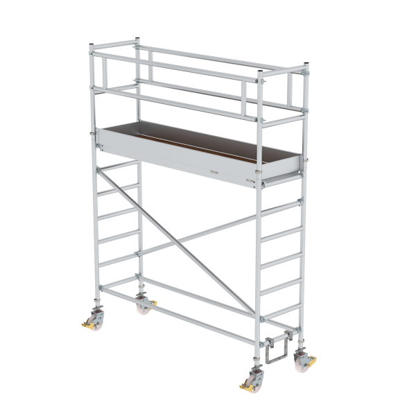 Mobile scaffolding 0.75 x 2.45 m with platform at 2 m distance & chassis bar Platform height 2.45 m