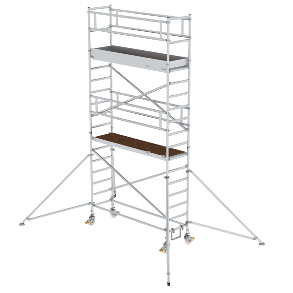 Mobile scaffolding 0.75 x 2.45 m with platform at 2 m distance & outrigger Platform height 4.35 m