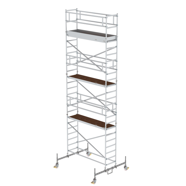 Mobile scaffolding 0.75 x 2.45 m with platform at 2 m distance & chassis bar Platform height 6.45 m