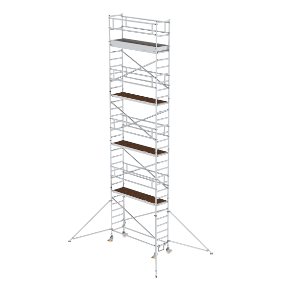 Mobile scaffolding 0.75 x 2.45 m with platform at 2 m distance & outrigger Platform height 8.35 m