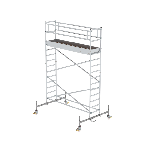Mobile scaffolding 0.75 x 3.0 m with platform at 2 m distance & chassis bar Platform height 3.45 m