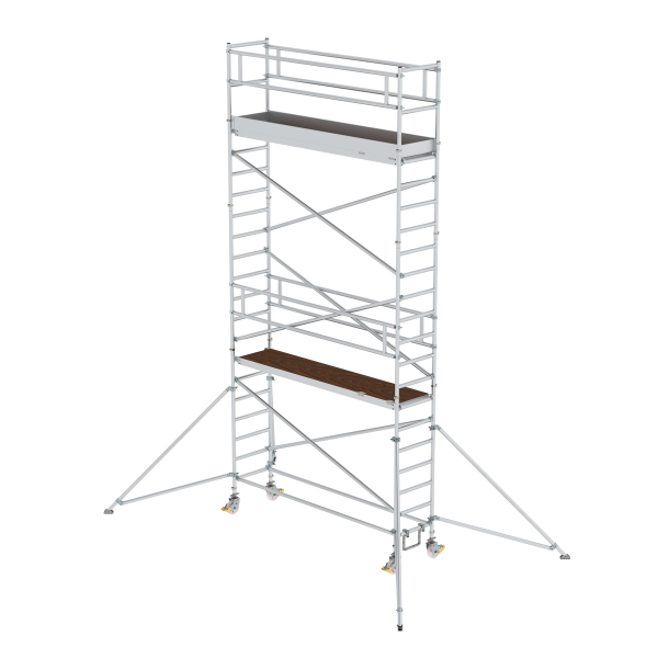 Mobile scaffolding 0.75 x 3.0 m with platform at 2 m distance & outrigger Platform height 5.35 m