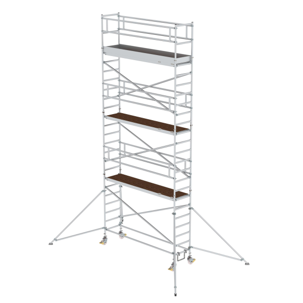 Mobile scaffolding 0.75 x 3.0 m with platform at 2 m distance & outrigger Platform height 6.35 m