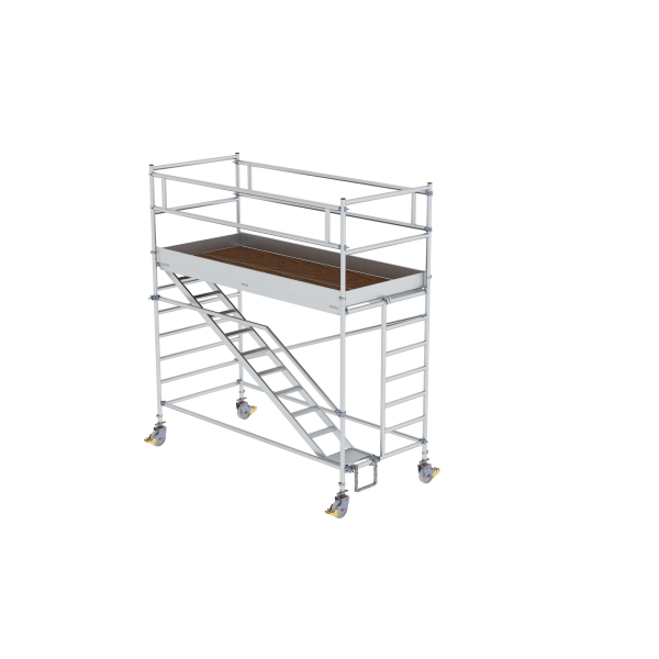 Mobile scaffolding 1.35 x 3.0 m with inclined ascents Platform height 2.35 m