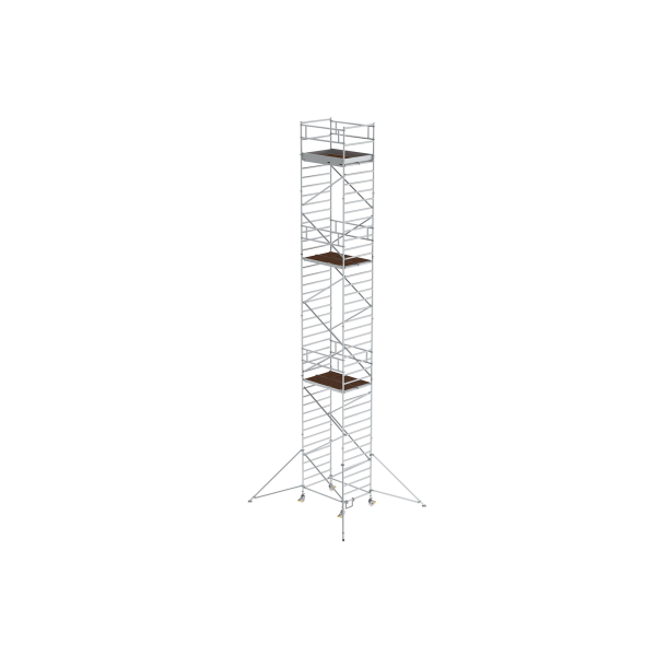 Mobile scaffolding 1.35 x 1.80 m with outrigger and double platform Platform height 11.35 m