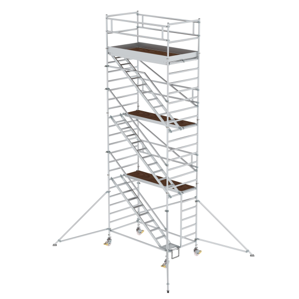 Mobile scaffolding 1.35 x 2.45 m with inclined ascents & outrigger Platform height 6.35 m