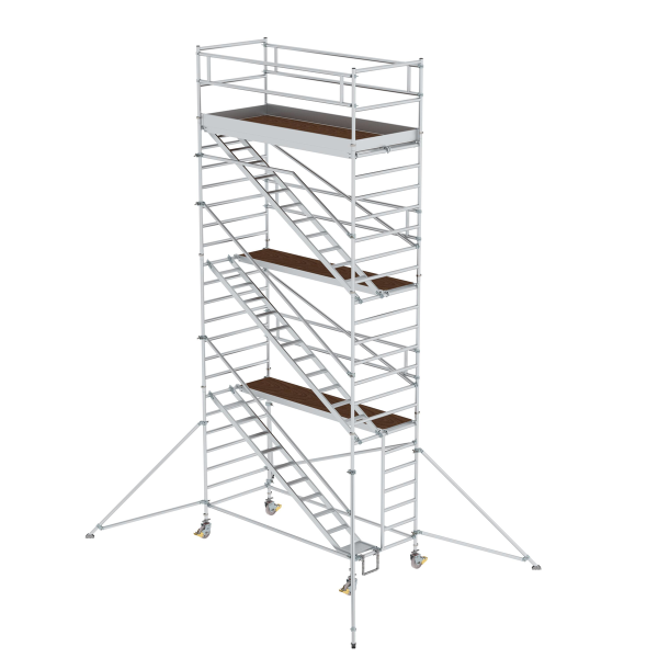 Mobile scaffolding 1.35 x 3.0 m with inclined ascents & outrigger Platform height 6.35 m