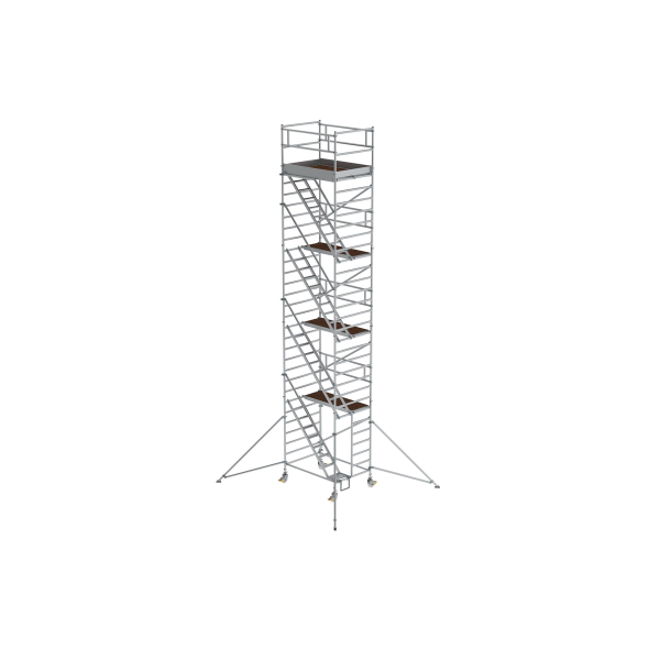 Mobile scaffolding 1.35 x 1.80 m with inclined ascents & outrigger Platform height 8.35 m