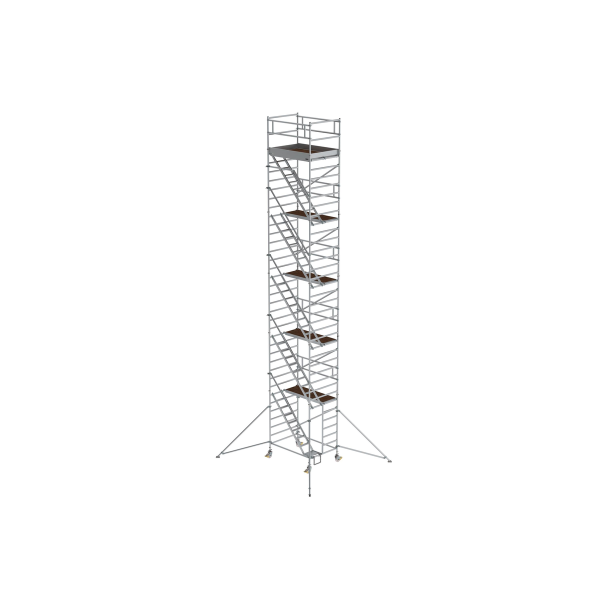 Mobile scaffolding 1.35 x 1.80 m with inclined ascents & outrigger Platform height 10.35 m