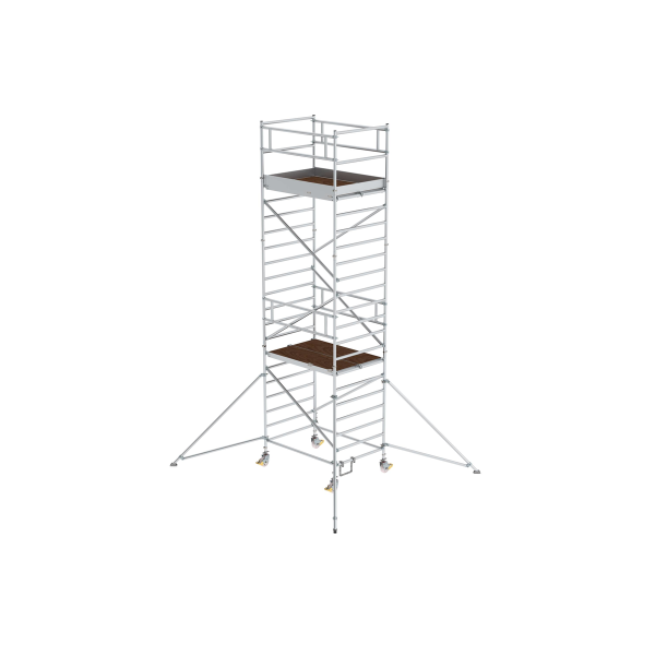Mobile scaffolding 1.35 x 1.80 m with outrigger and double platform Platform height 5.35 m