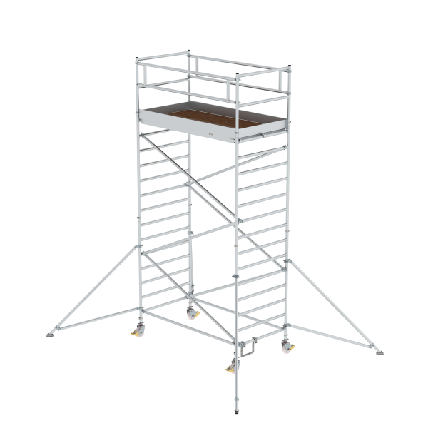 Mobile scaffolding 1.35 x 2.45 m with outrigger and double platform Platform height 4.35 m