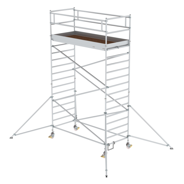 Mobile scaffolding 1.35 x 3.0 m with outrigger & double platform Platform height 4.35 m