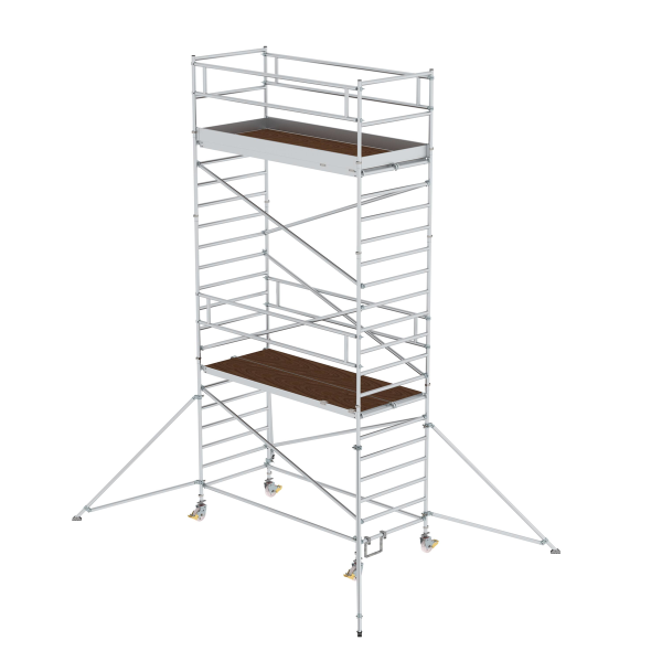 Mobile scaffolding 1.35 x 3.0 m with outrigger & double platform Platform height 5.35 m