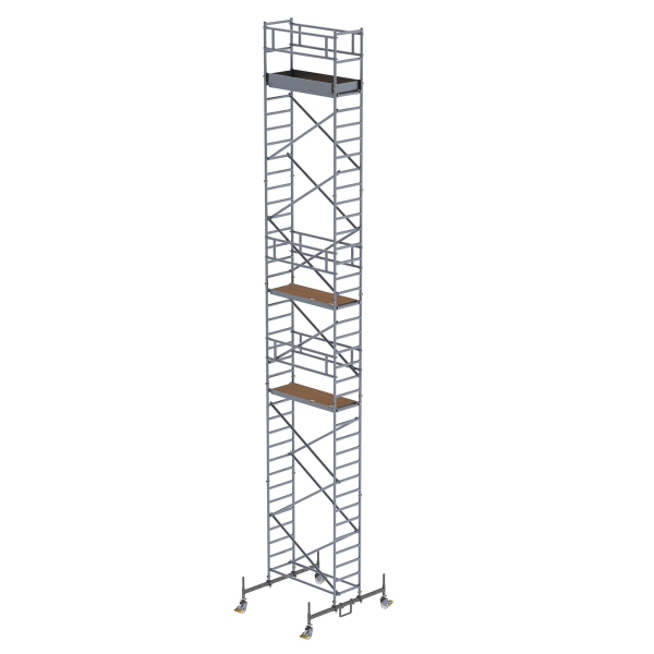 Mobile scaffolding 0.75 x 1.80 m with chassis bar Platform height 10.45 m