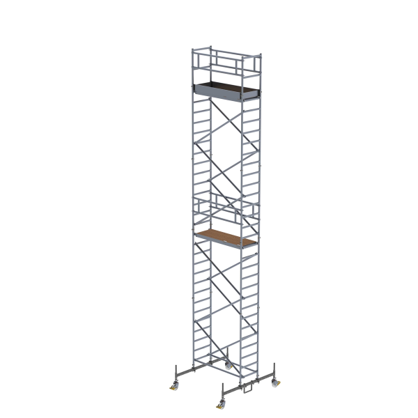 Mobile scaffolding 0.75 x 1.80 m with chassis bar Platform height 8.45 m