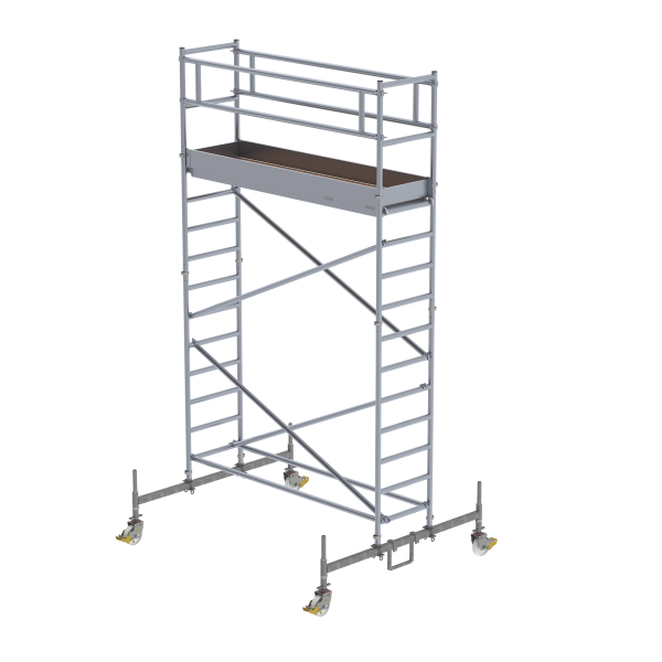 Mobile scaffolding 0.75 x 2.45 m with chassis bar Platform height 3.45 m