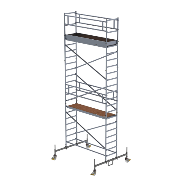 Mobile scaffolding 0.75 x 2.45 m with chassis bar Platform height 5.45 m