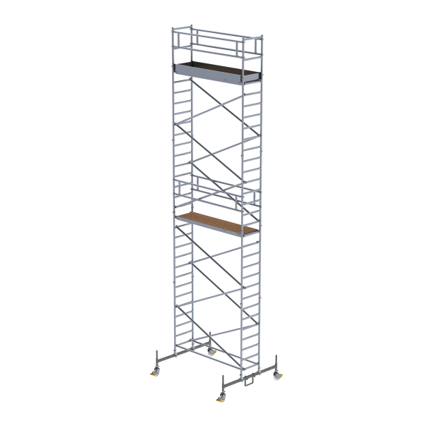 Mobile scaffolding 0.75 x 2.45 m with chassis bar Platform height 8.45 m