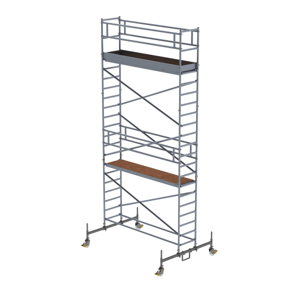Mobile scaffolding 0.75 x 3.0 m with chassis bar Platform height 5.45 m