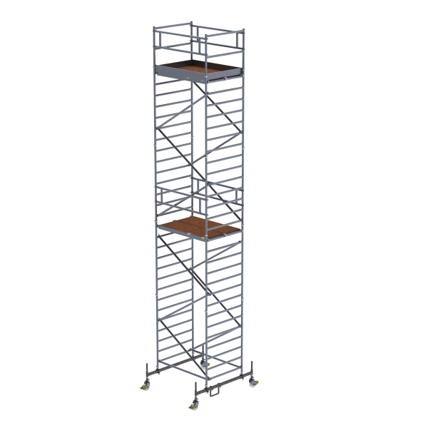 Mobile scaffolding 1.35 x 1.80 m with chassis bar & double platform Platform height 8.45 m