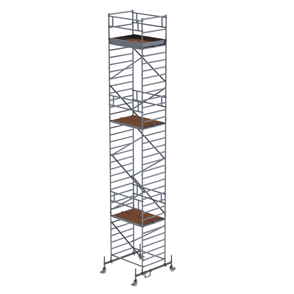 Mobile scaffolding 1.35 x 1.80 m with chassis bar & double platform Platform height 9.45 m